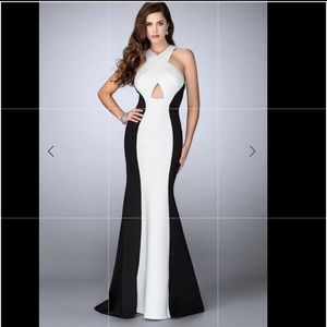 La Femme- Striking Criss Cross Neck Neoprene Gown